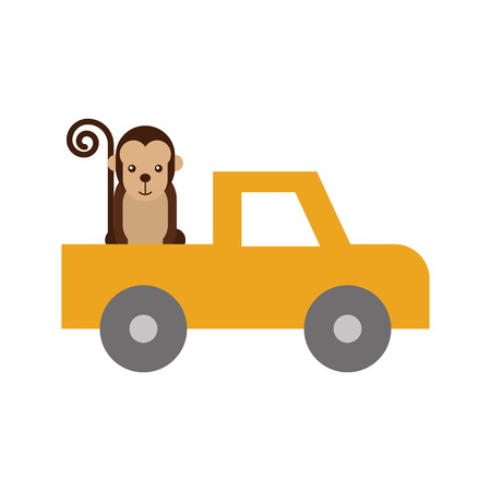 safari Van of Plato with monkey vector illustration design