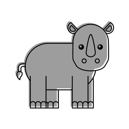야생 코뿔소 격리 아이콘 벡터 일러스트 레이 션 디자인 일러스트