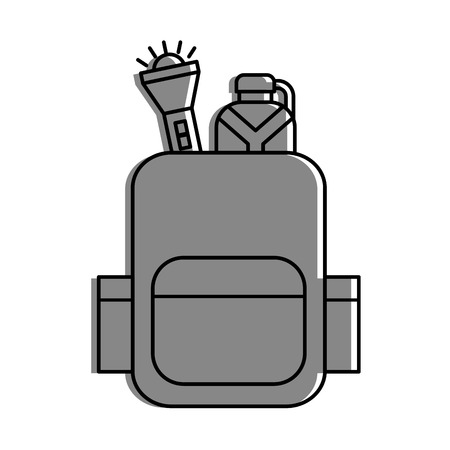 camping bag with canteen and lantern vector illustration design Иллюстрация