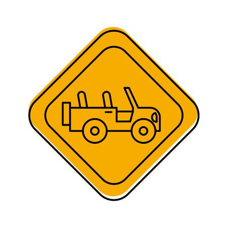 safari vehicle road sign vector illustration design
