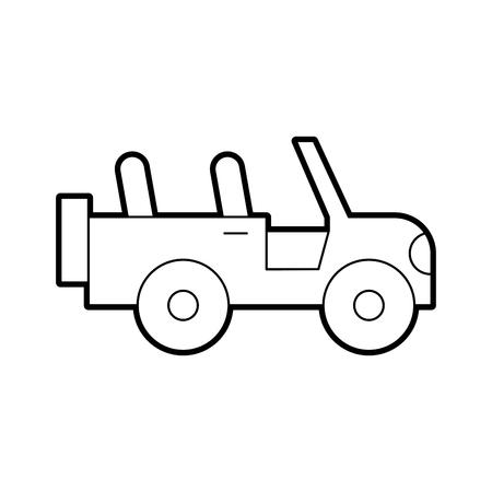 사파리 지프 격리 된 아이콘 벡터 일러스트 디자인 일러스트