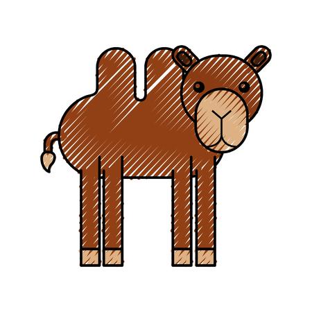 cammello africano isolato icona illustrazione vettoriale di progettazione