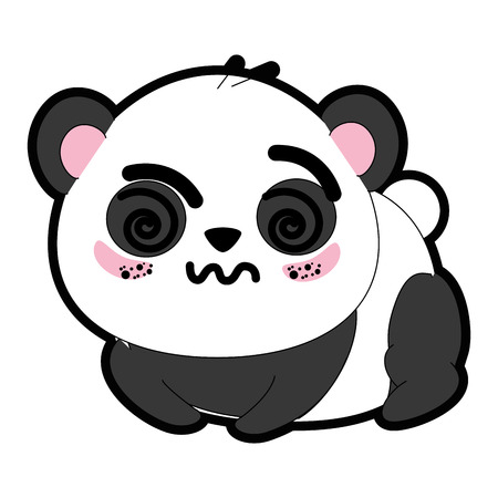 흰색 배경 위에 kawaii 팬더 곰 아이콘 화려한 디자인 벡터 일러스트 레이 션