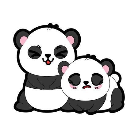 Panda bear icon over white background colorful design vector illustration