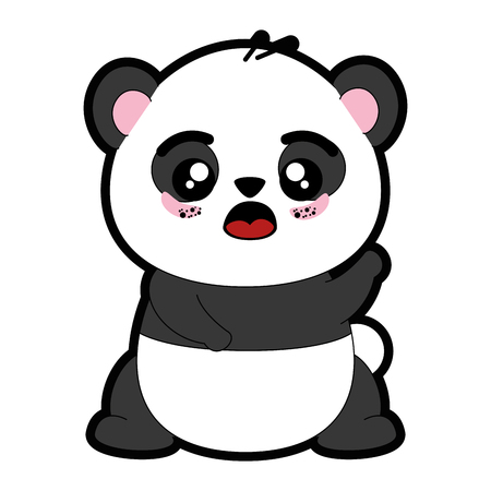 kawaii panda bear icon over white background colorful design vector illustration