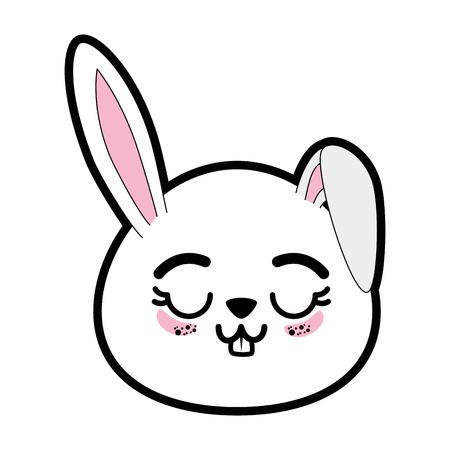 흰색 배경 위에 토끼 동물 아이콘 화려한 디자인 벡터 일러스트 레이 션