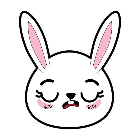 kawaii rabbit animal icon over white background colorful design vector illustration Illustration