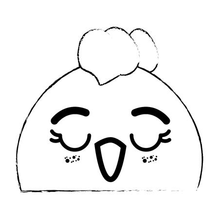 kawaii chicken icon over white background vector illustration Illustration