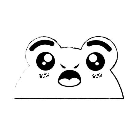 흰색 배경 벡터 일러스트 레이 션 kawaii 개구리 동물 아이콘