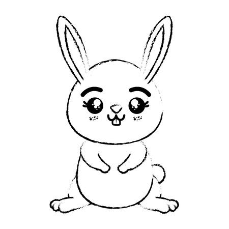 흰색 배경 벡터 일러스트 레이 션을 통해 kawaii 토끼 동물 아이콘 일러스트