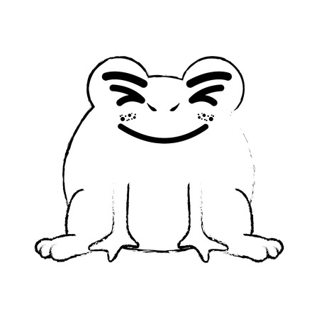 kawaii frog animal icon over white background vector illustration