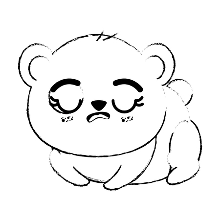 Outline drawing of kawaii dog animal icon with eyes closed over white background vector illustration Illustration
