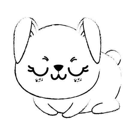 Outline drawing of kawaii rabbit animal icon with closed eyes over white background vector illustration Illustration