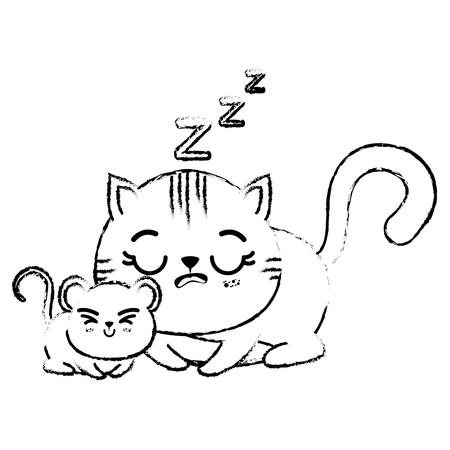 Overzichtstekening van de slaap van de kawaiikat en een klein muispictogram over witte vectorillustratie als achtergrond