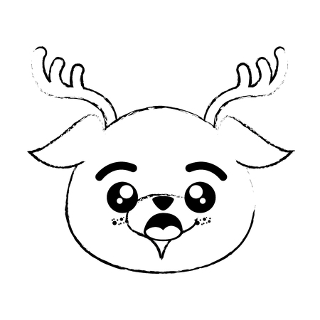 Outline drawing kawaii deer animal icon over white background vector illustration