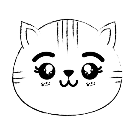흰색 배경 벡터 일러스트 레이 션을 통해 만화 그림 그리기 kawaii 고양이의 머리 아이콘 스톡 콘텐츠 - 84645720