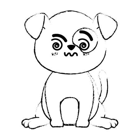 Outline cartoon drawing kawaii dog animal icon over white background vector illustration