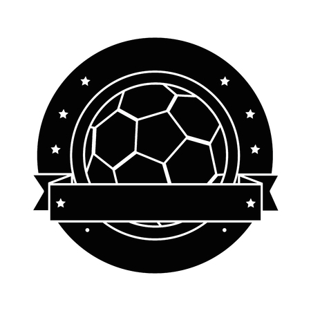 emblem with soccer ball icon over white background vector illustration Ilustrace