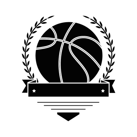 emblem with basketball ball icon over white background vector illustration 向量圖像