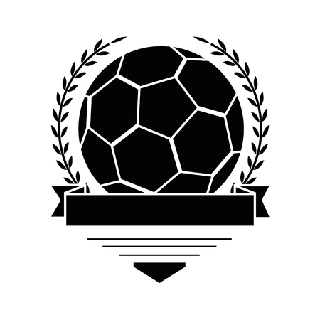 emblem with soccer ball icon over white background vector illustration Ilustração