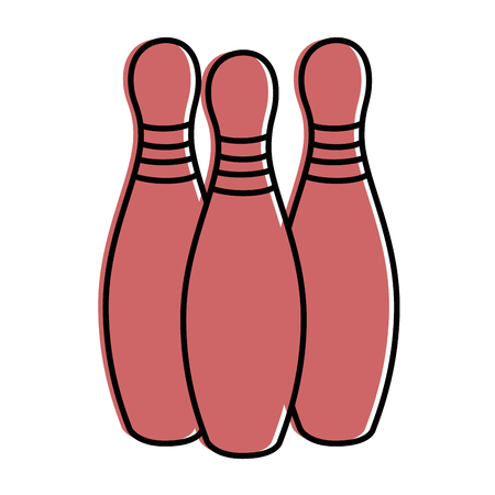 bowling pins icon over white background vector illustration