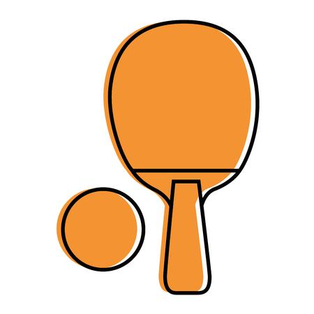 白い背景のベクトル図に ping ピンポン ラケット アイコン