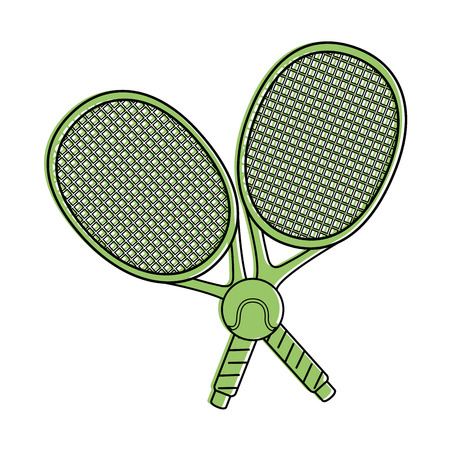 tennis rackets and ball icon over white background vector illustration Ilustrace