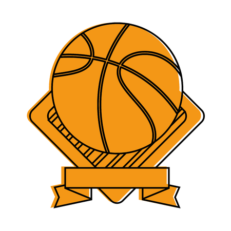 emblem with basketball ball icon over white background vector illustration Ilustrace