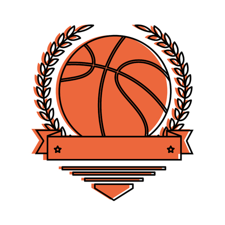 emblem with basketball ball icon over white background vector illustration Reklamní fotografie - 84665659