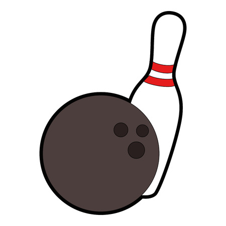 bowling pin and ball icon over white background vector illustration