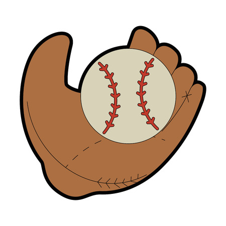 baseball glove and ball icon over white background vector illustration
