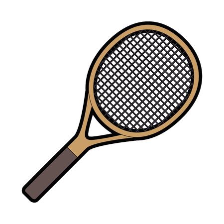 tennis racket icon over white background vector illustration Ilustração