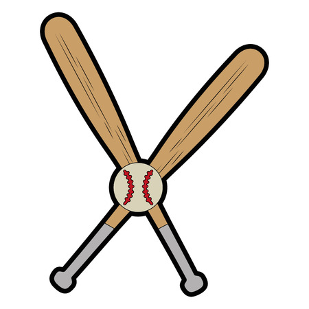 baseball bats and ball  icon over white background vector illustration
