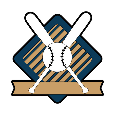 emblem with baseball bats and ball icon over white background vector illustration