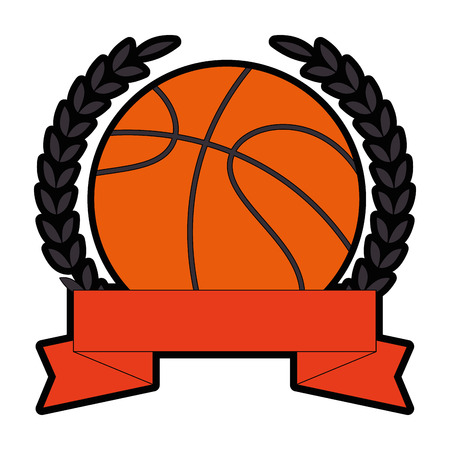 emblem with basketball ball icon over white background vector illustration Ilustração