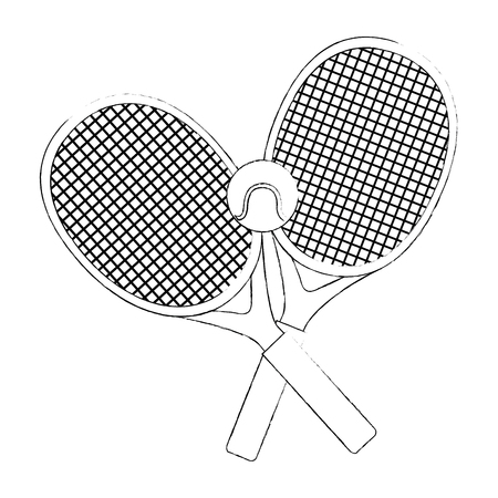 tennis rackets and ball icon over white background vector illustration Ilustração