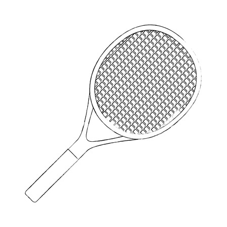 tennis racket icon over white background vector illustration Ilustração
