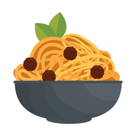 spaghetti dish icon over white background vector illustration