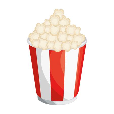 白背景ベクトル イラスト上のポップコーン バケツのアイコン