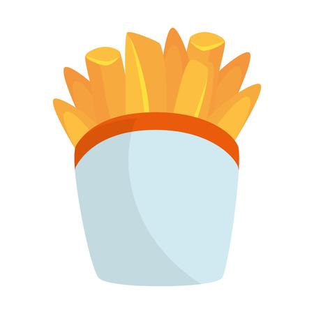 흰색 배경 벡터 일러스트 레이 션을 통해 감자 튀김 아이콘 스톡 콘텐츠 - 84665753