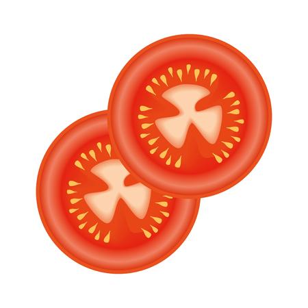 흰색 배경 벡터 일러스트 레이 션 위에 토마토 조각 아이콘 스톡 콘텐츠 - 84665754