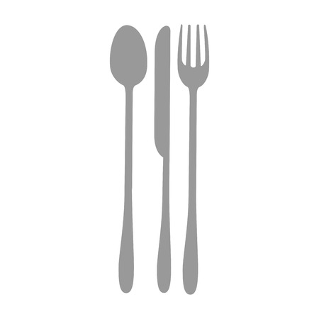 spoon fork and knife icon over white background vector illustration Ilustração