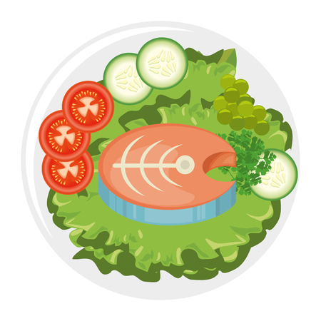 dish with fish and salad icon over white background vector illustration Иллюстрация