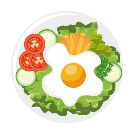 Gastronomische schotel met gebakken eipictogram over witte vectorillustratie als achtergrond Stockfoto - 84665761