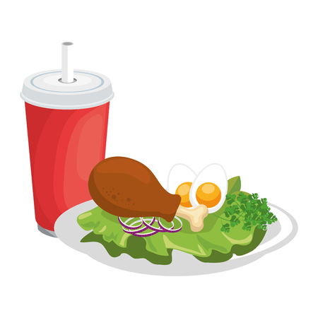 gourmet dish with chicken leg icon over white background vector illustration Ilustração