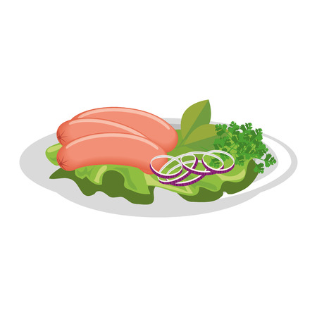 gourmet dish with sausages icon over white background vector illustration Illustration