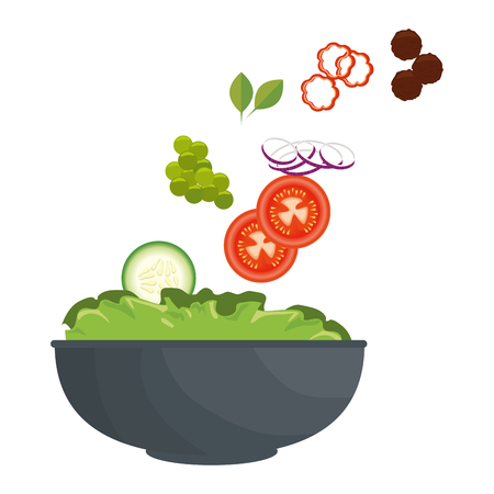 healthy salad icon over white background vector illustration