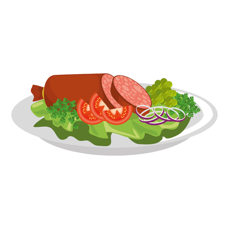 白い背景のベクトル図にサラダとサラミのアイコンとグルメ料理