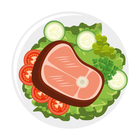 gourmet dish with meat steak icon over white background vector illustration Illustration