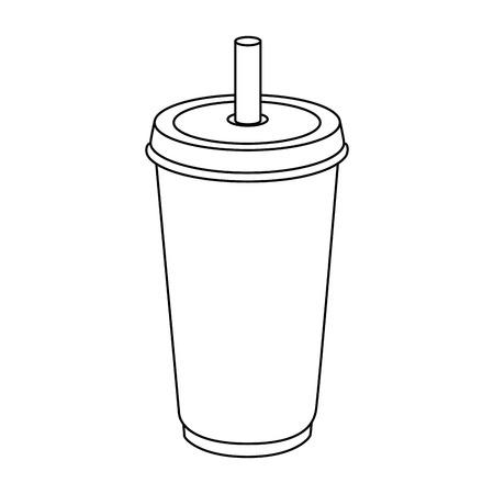 흰색 배경 벡터 일러스트 레이 션을 통해 청량 음료 컵 아이콘 일러스트